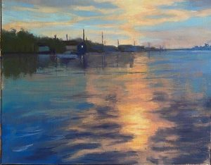 Marina Sunset-oil-11 x 14- $700