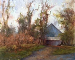 Old Court Blue Barn; Oil on Ivorine; 4x5 in; $265