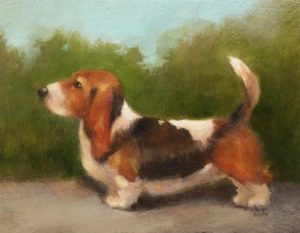 Proud Bassett; Oil on Panel; 3.5x4.5; $285