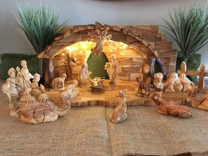 Sandra Kull got her set in Bethlehem in 2015. It's carved from the wood of old olive trees