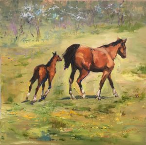 Catching Up to Mom 12x12 oil $950