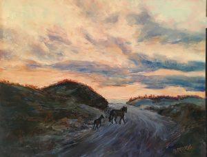 Dune Road Crossing, 11x14 oil, $975
