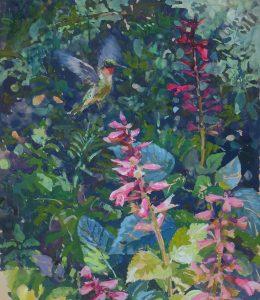 Hummingbird Visiting Salvia. 20x27. $900