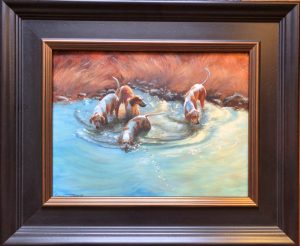 Swim Break 12x16 18x21 Oil $1700
