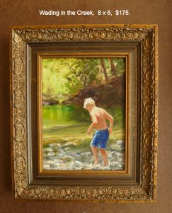 Wading in the Creek, 8x6, $175